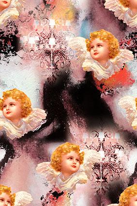 渲染雕饰灯翅膀小天使