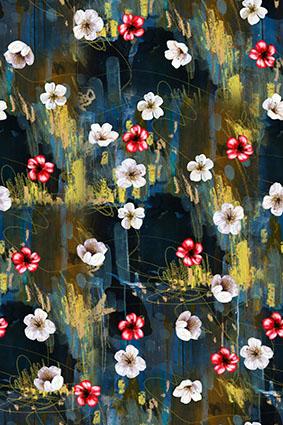 水彩笔刷装饰小花朵