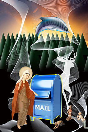 波浪线条人物邮箱