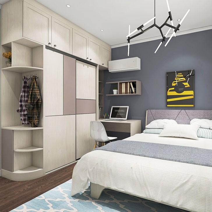 高级灰卧室 超大衣柜 隐藏书柜设计