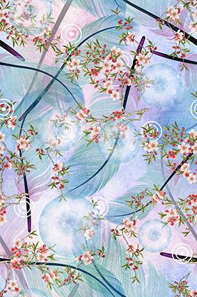 绚丽羽毛枝叶花朵渲染花饰
