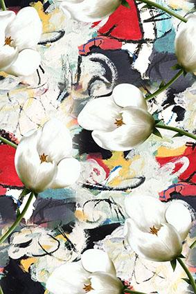 涂鸦磨砂水彩底洁白花朵