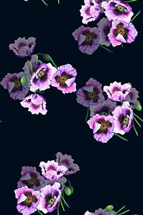 黑底花饰透底粉花卉