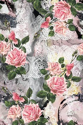 白色花窗手绘粉嫩玫瑰