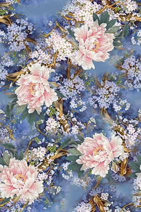 紫色树梢花卉牡丹盛开