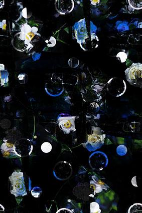 黑底抽象杂乱花卉