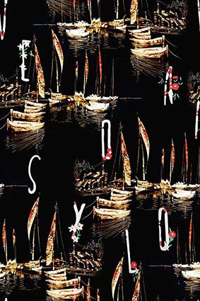 夜色湖面灯彩帆船