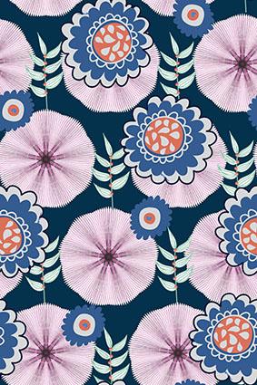 线条粉色雨伞矢量平面花