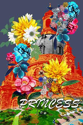 滤镜城堡手绘鲜艳花卉