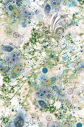 素描花边植物花湖