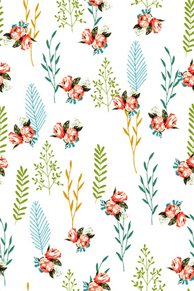 白底简易树枝装饰花朵