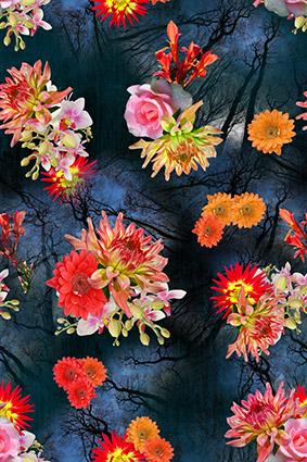 暗雅树梢手绘花朵
