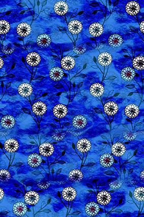 渐变蓝色涂鸦花朵