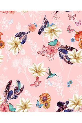 粉底手绘蝴蝶花