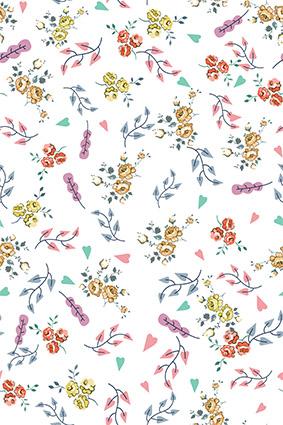 卡通点缀色块植物花