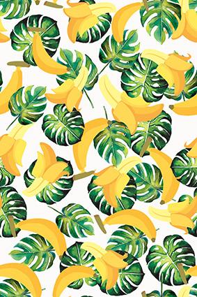 水果香蕉热带树叶