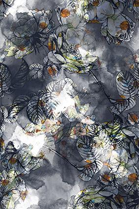 渲染水墨植物花