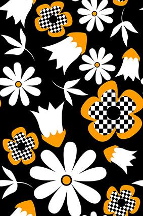 马赛克色块矢量卡通花朵