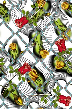 棱角效果线条花