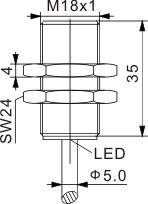 圆柱型电感式接近开关 M18