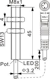 圆柱型电容式接近开关 M8