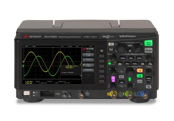 是德科技EDUX1052G 示波器:50 MHz 带宽,2 个模拟通道,内置波形发生器